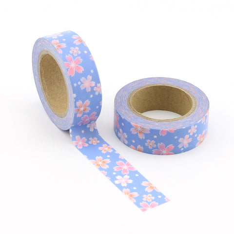 Blue with Pink Flowers (2018) Washi Tape