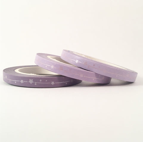 Matte Foil Stars Skinny Washi Tape Set of Three - Purple