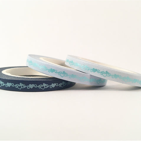 Matte Foil Hearts Skinny Washi Tape Set of Three - Blue