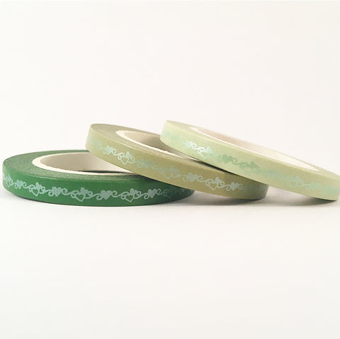 Matte Foil Hearts Skinny Washi Tape Set of Three - Green