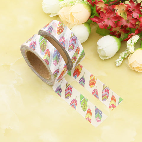 Bold Rainbow Feathers Washi Tape