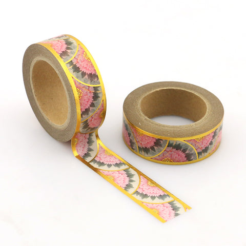 Pink and Gray Flowers with Gold Foil Accents Washi Tape