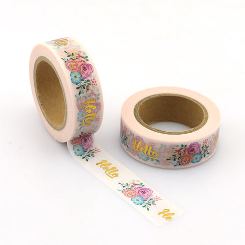 Pink with Flowers and Gold Foil Hello Washi Tape