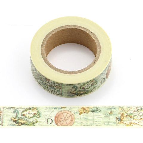 Yellow Map the World Washi Tape