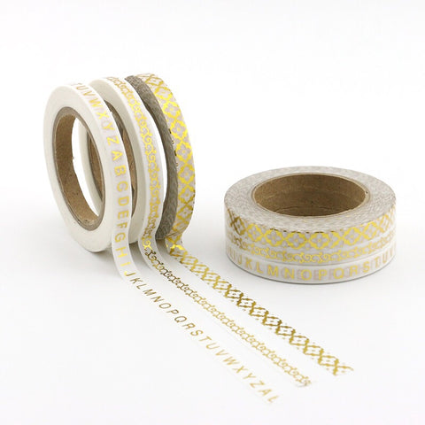 White with Gold Foil Skinny Washi Tape Set of Three