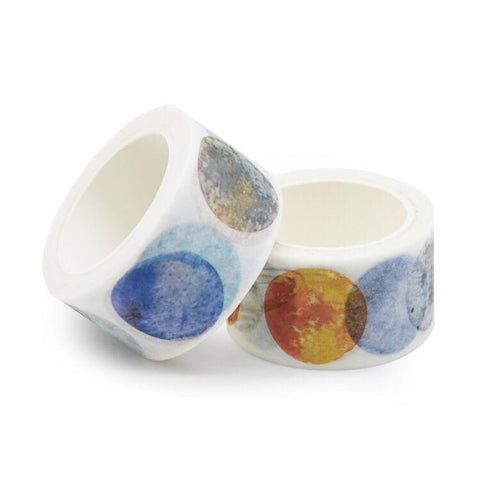 Watercolor Planets Wide Washi Tape