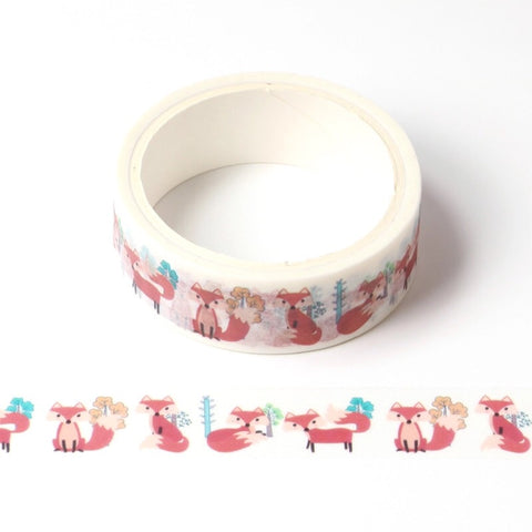 White with Fall Foxes Washi Tape