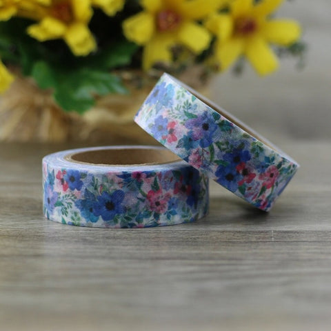 Pink and Blue Flowers Washi Tape