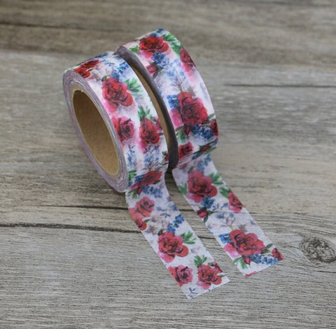Roses with Blue Flowers Washi Tape