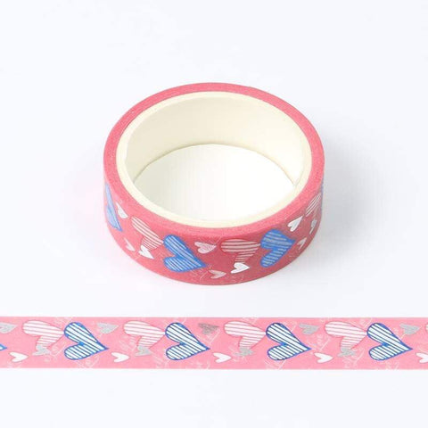 Blue and Silver Foil Hearts Washi Tape