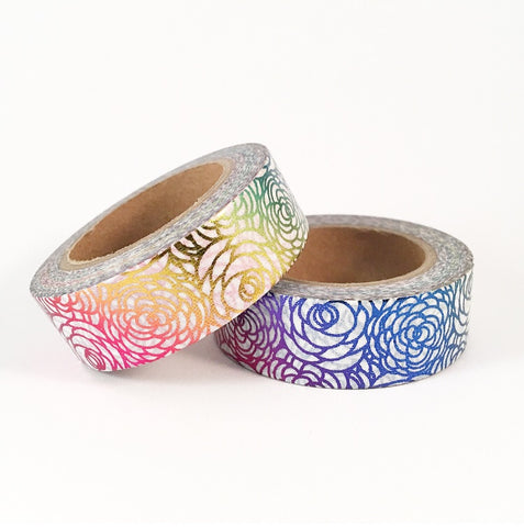 Rainbow Foil Roses Washi Tape **Custom**
