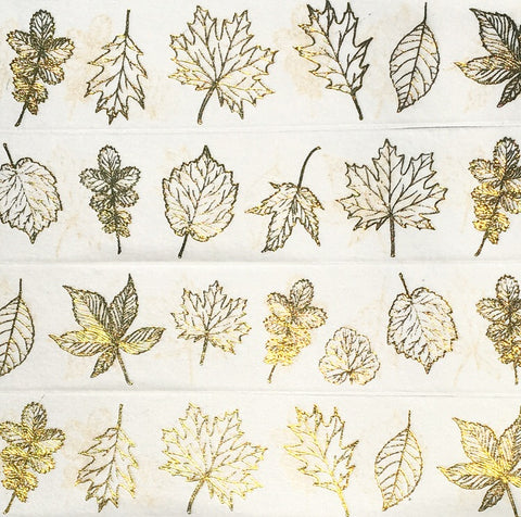 Gold Foil Fall Leaves Wide Washi Tape