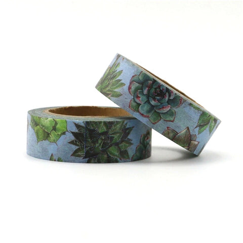 Blue with Green Succulents Washi Tape