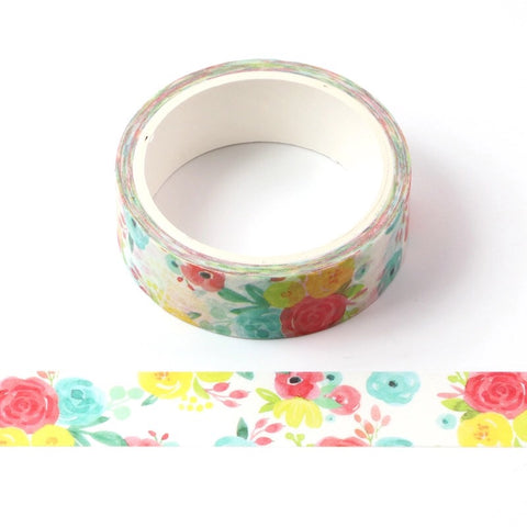 Watercolor Roses Washi Tape