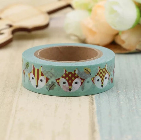 Green with Fall Foxes Washi Tape