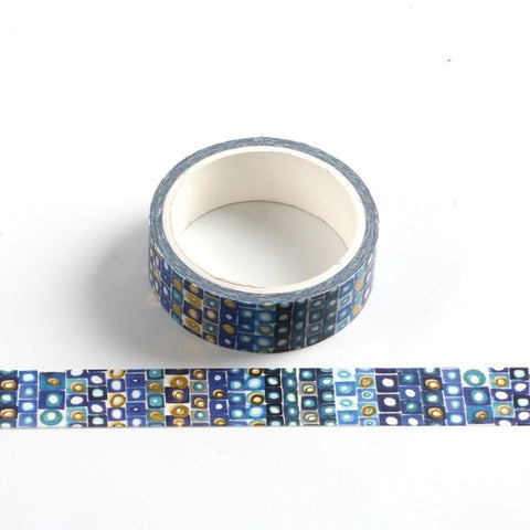 Blue Squares Foil Washi Tape
