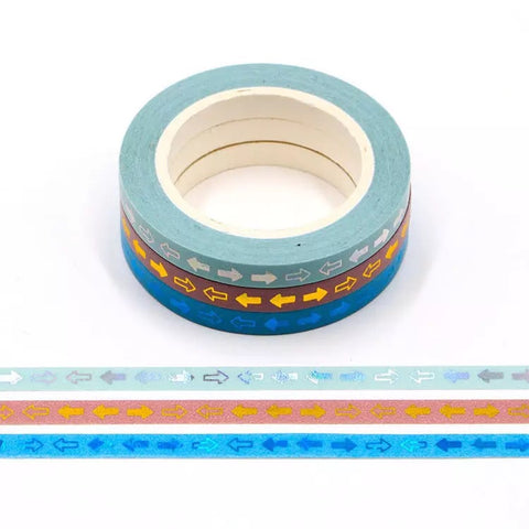 Foil Arrows Skinny Washi Tape Set of Three
