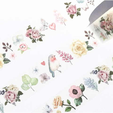 Butterflies Birds Blooms Wide Washi Tape