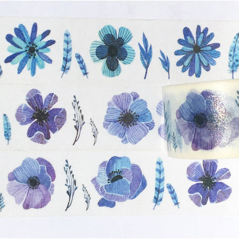 Purple and Blue Flowers Wide Washi Tape