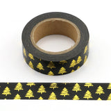 Black with Gold Evergreen Trees Washi Tape