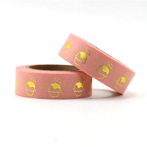 Pink with Foil Cupcakes Washi Tape