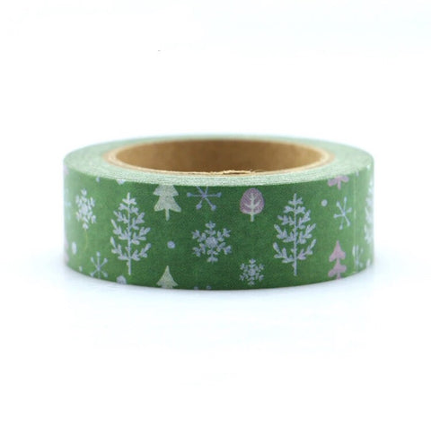 Green with Trees and Snowflakes Washi Tape