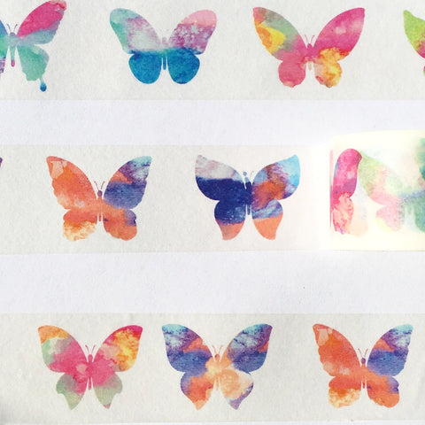 Watercolor Butterflies Wide Washi Tape