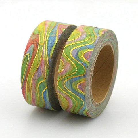 Rainbow Marble with Gold Foil Accents Washi Tape