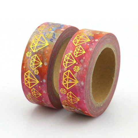 Galaxy with Gold Foil Gems Washi Tape