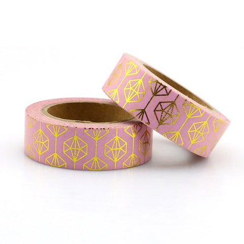 Pink with Gold Foil Gems Washi Tape