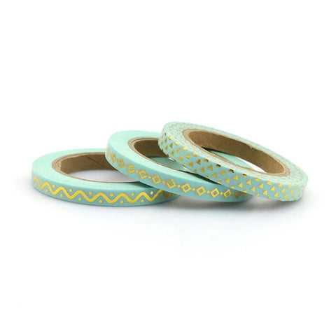 Mint with Gold Foil Skinny Washi Tape Set of Three