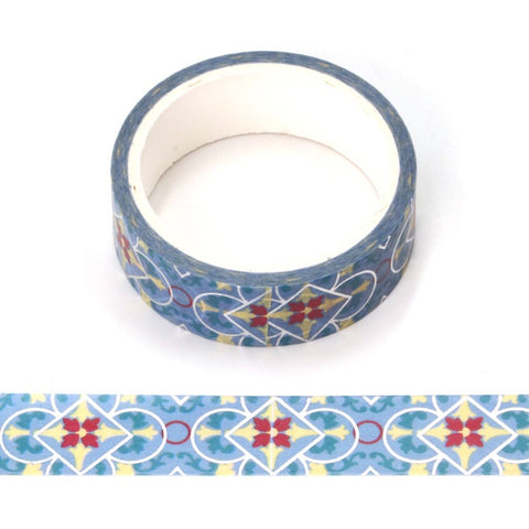 Blue w/ Foil Patterns Foil Washi Tape
