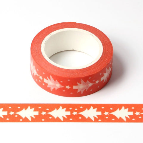 Red with White Christmas Trees Washi Tape