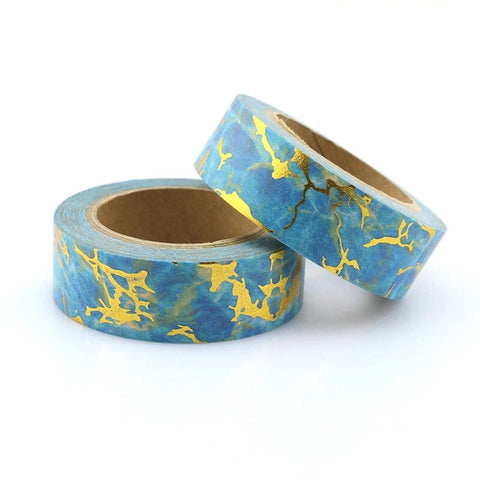 Blue Water with Gold Foil Washi Tape