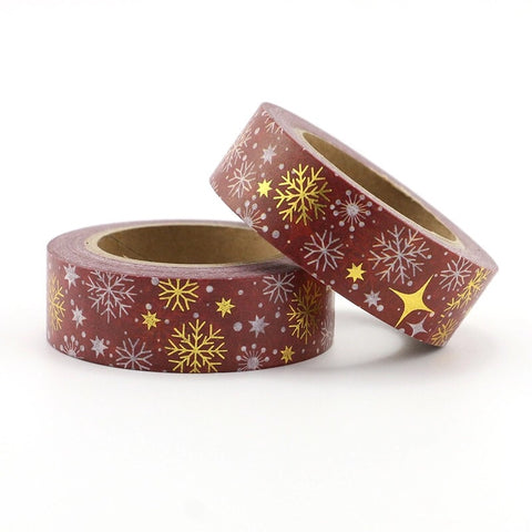 Maroon with Gold Snowflakes Washi Tape