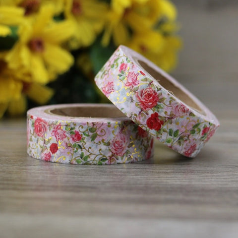 Roses with Gold Foil Washi Tape