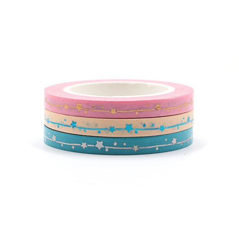 Foil Stars Skinny Washi Tape Set of Three - Pink, Peach, Blue