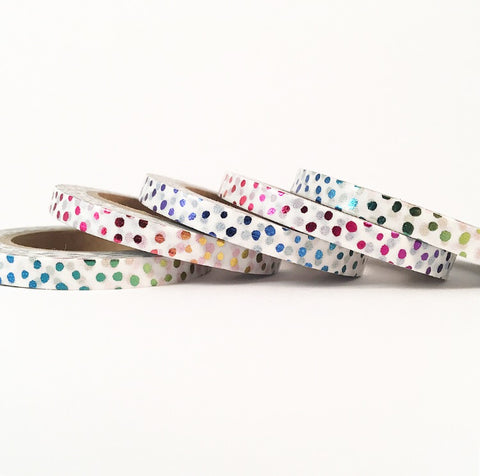 Rainbow Sparkle Skinny Washi