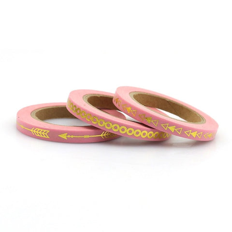 Pink with Gold Foil Skinny Washi Tape Set of Three