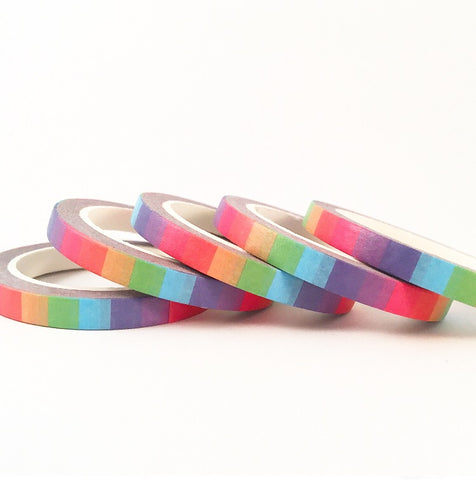 Rainbow Block Skinny Washi Tape