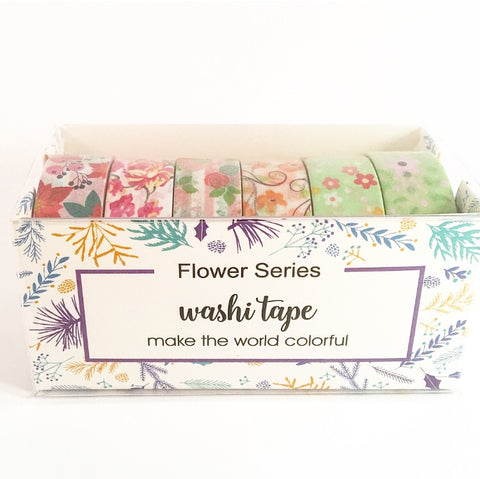 Red and Green Floral Set of 6 Washi Tapes