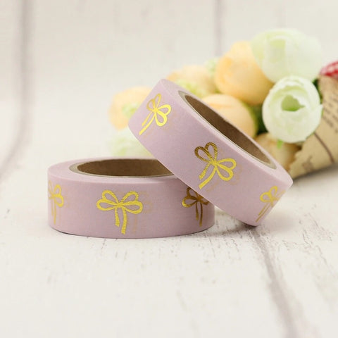 Pink with Gold Bows Washi Tape