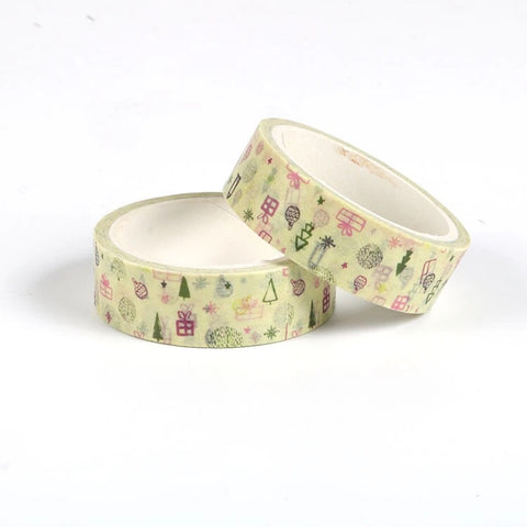 Christmas on Yellow Washi Tape