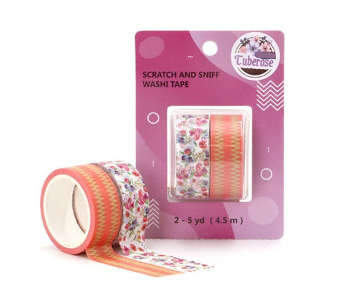 Tuberose Scratch and Sniff Washi - Floral and Zig Zag