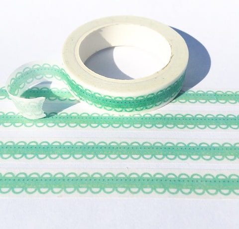 Green Lace Skinny Washi Tape