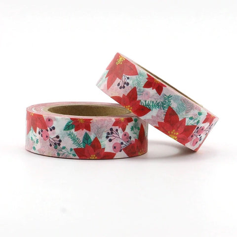 Bold Red Poinsettia Washi Tape