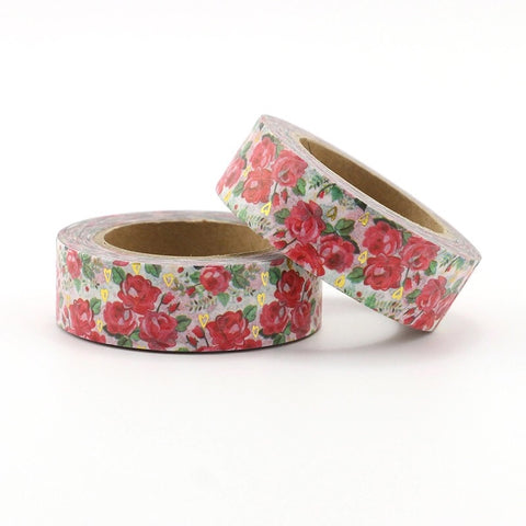 Roses with Gold Hearts Washi Tape