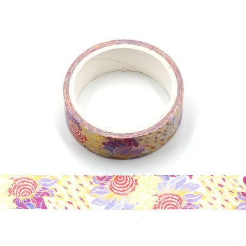 Pink and Gold Flowers Foil Washi Tape