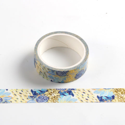 Blue and Gold Flowers Foil Washi Tape