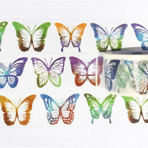 Rubber Stamped Butterflies Wide Washi Tape
